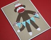 Sock monkey invitations - birthday party / baby shower / set of 12 invitations