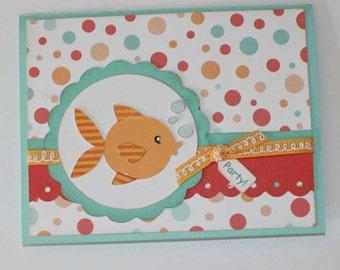 Birthday invitations - Fish, kids birthday, bright colors, set of 12