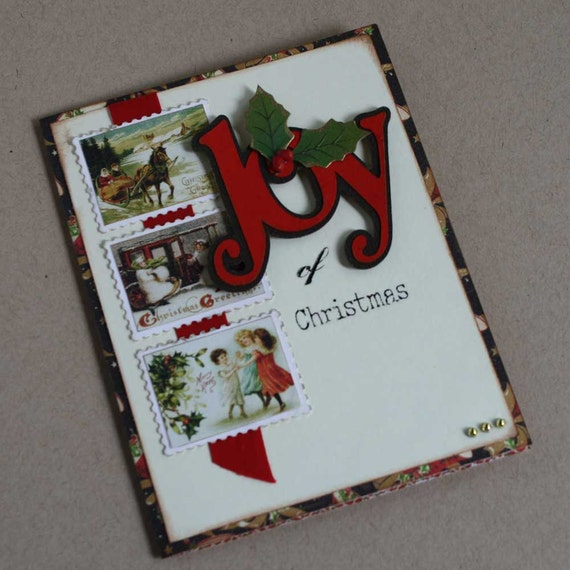 Items similar to Christmas card - Joy card, handmade ...