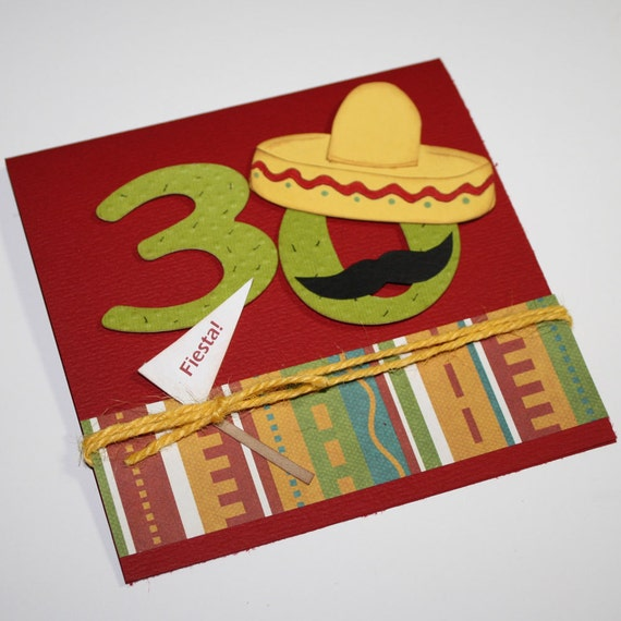 Fiesta birthday invitations - Mexican Fiesta theme/ set of 45