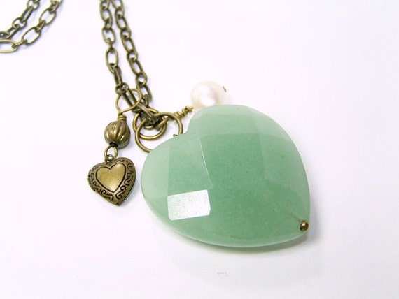 Green Aventurine Heart Necklace in Brass with Locket and Pearl