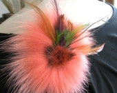 Fall Winter 2013 Pumpkin Sunset Orange Fox Fur Brooch Rust tipped brown Mink Fur Pin Brooch  feathers accents green gold plum RESERVED