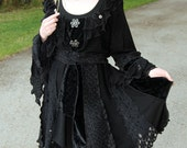 RESERVED for DustyDustBunny - tWiLiGhT - Tattered Chic - 2XXL - Short Faerie elf  pixy coat-   Made with recycled sweaters velvet and lace