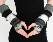 Arm warmers - Fingerless and texting gloves - made from recycled sweaters