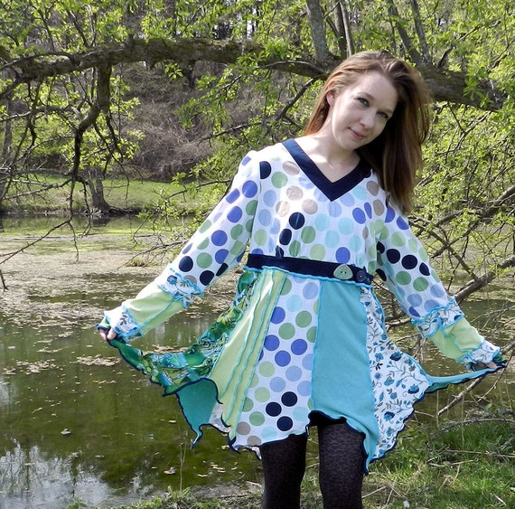 TaDpOLe - Upcycled OOAK Fairy elf patchwork hoodie made with recycled sweaters 1XLarge