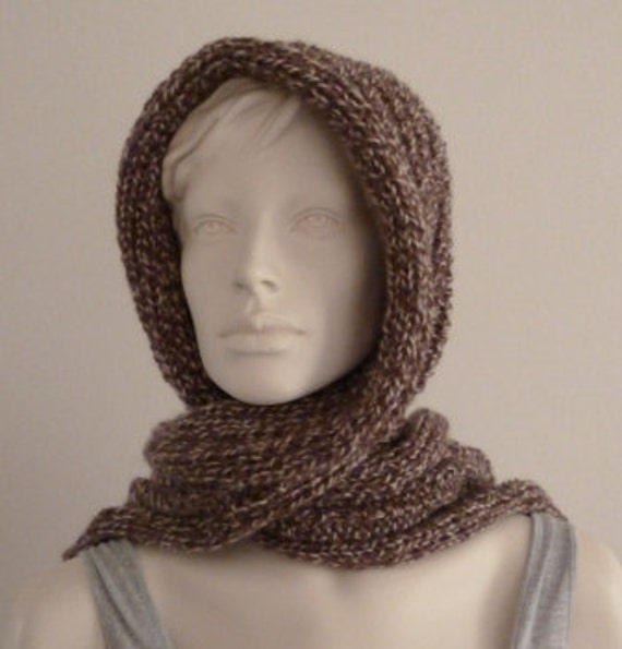 Womens Hooded Scarf, Pixie Hat with Scarf, Hood with Scarf