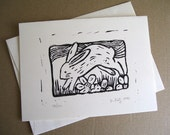 5 Bunny Block Prints reserved for Linnea
