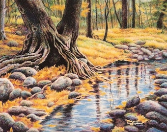 Fall  Autumn Trees  Yellow and Orange Leaves  miniature, matted small print, Forest in Chiricahua Mountains