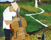 Fine Art Print of Bass Player and Vineyards - FREE SHIPPING