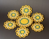 Daisies Spring cotton crocheted coasters