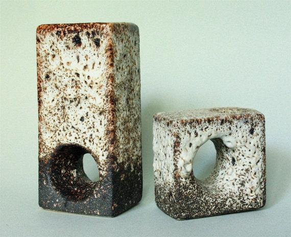 Set of Two Dutch Fat Lava Chimney Vases by Vest Keramiek