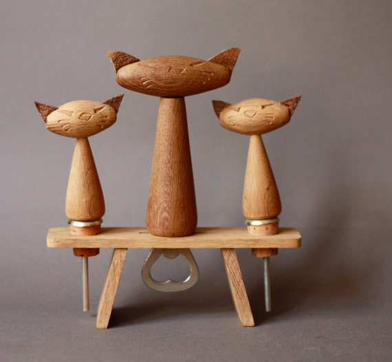 Mid Century Modern Bottle Opener Teak Set with 3 Cats