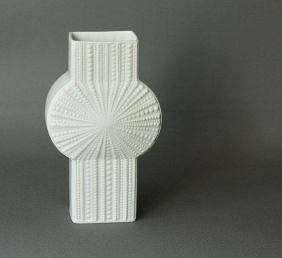 ON SALE Vintage Op Art White Matte Porcelain Vase Sea Urchin Shell Relief By Heinrich
