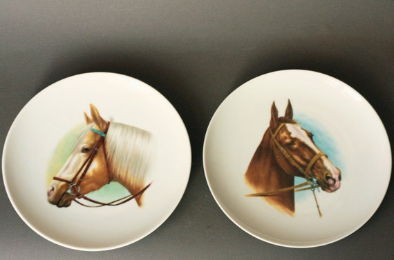 Set of two Kaiser Porcelain Collectors Plates with Horses Wall Hanging