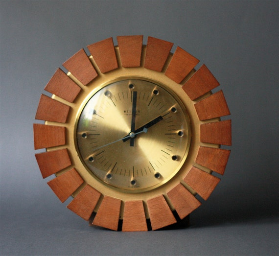 Mid Century Modern Teak and Brass Sunburst German Clock