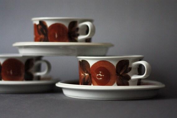 Arabia Finland Set of 3 Tea cups and Saucers Rosmarin