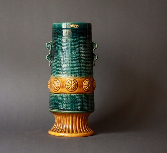 Tall Mid-Century Modern West German Pottery Footed Vase by Bay
