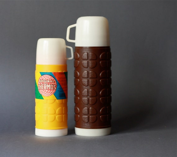 RESERVED for OPOP Vintage set of Two East German Thermos Bottles GDR
