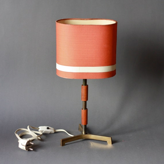 Mid Century Modern Teak and Brass Coral Red Tripod Lamp