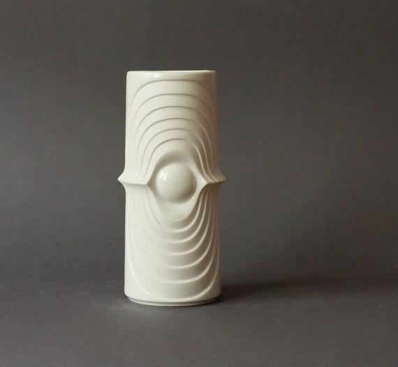 ON SALE Vintage White Matte Porcelain Space Age Vase by Kerafina Op Art