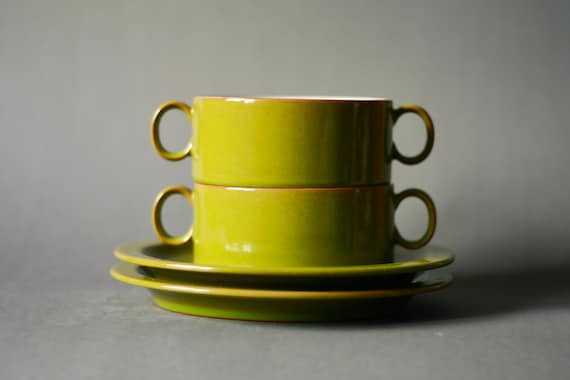 Vintage Set of Two Olive Green Soup Bowls and Saucers Melitta Ceracron 1970s