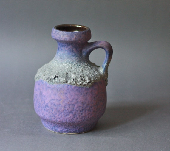 West German Pottery Ilkra Handled Vase FAT Lava