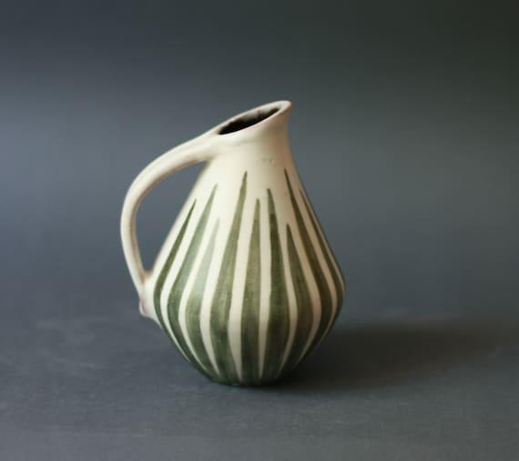 Mid Century Modern West German STUDIO Pottery Handled Vase By Anton Lang