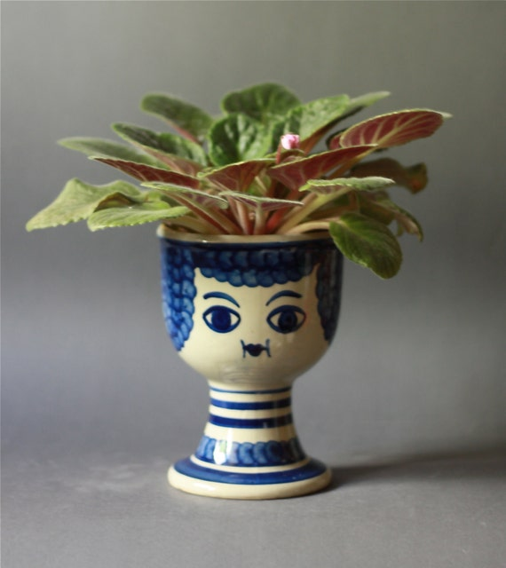 RESERVED for Poinier Vintage Funny Face Pottery Planter in Blue
