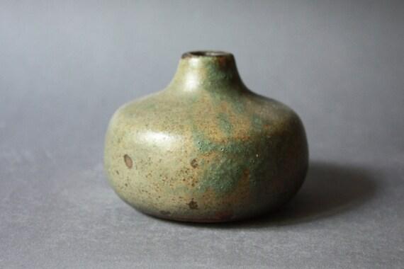 Vintage STUDIO Pottery Bulbous  Art Vase Olive Green