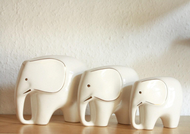Mid Century Modern Set Of 3 Porcelain Elephants Figurines
