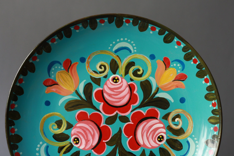Vintage Handpainted Russian Folk Flowers Plate Wall Hanging