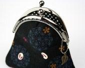 Coin Purse - Sakura and Rabbit - Cotton Fabric with Metal Frame