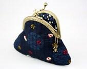 Coin Purse - Sakura and Rabbit - Cotton Fabric in Indigo with Metal Frame