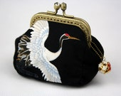 Coin Purse - Chrysanthemum & Crane - Japanese Cotton Fabric with Vintage Metal Frame in Bronze