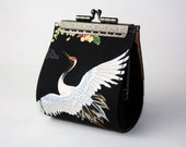Coin Purse - Flying Crane in Blooming Peony - Cotton Fabric with Metal Frame