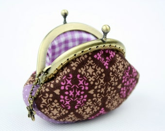 Coin Purse - Retro Purple / Violet & Coffee Brown Cotton Fabric with Metal Frame