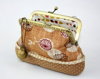 Clutch Purse - Chrysanthemum and Polka Dot - Cotton Fabric with Metal Frame and Bag Belt