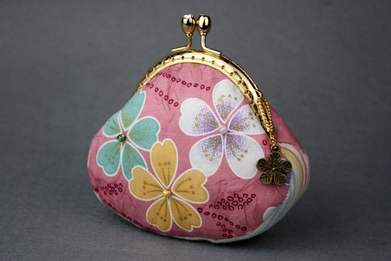 50% OFF>> Sakura Coin Purse - Cotton Fabric in Pink with Metal Frame