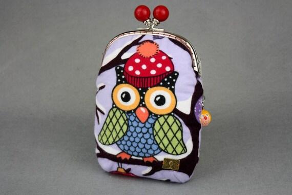Owls Shoulder Bag - Owls in a Hat Flannel Shoulder Bag in Violet with Metal Frame (Cross Body)