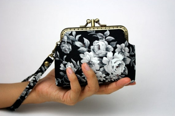 Clutch Purse / Wallet - English Rose  - Cotton Fabric in Black with Metal Frame and Wristlet (Double Compartment)