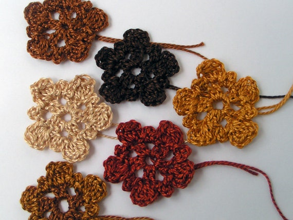 Custom order for Raechyl Rustic Earth Colors Crochet Flowers for Crafting Set of 6