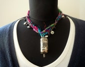Steampunk Necklace Silk Yarn Vacuum Tube