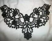 Steampunk gothic black lace applique