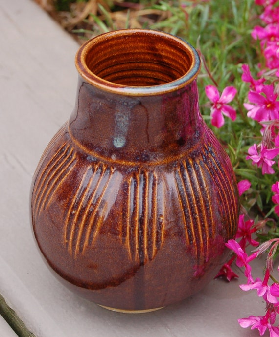 Little Brown Vase - Pottery - Stoneware - Ceramic - Bottle