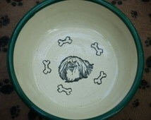 Limited Time Only SALE!! Pekingese (Cute) Bowl - Hunter Green (Medium)