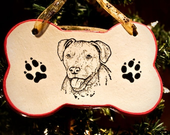 Pit Bull Portrait - Bone Ornament