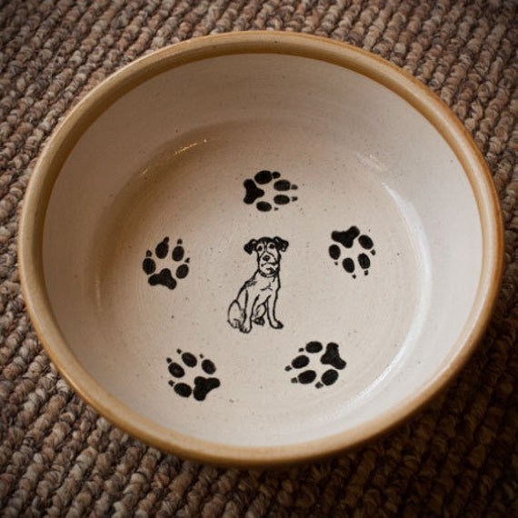 Jack Russell Bowl with Paws - Tan (Medium)