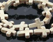 12x16mm   White Cross Turquoise beads Loose Strand