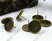 20pcs Antique Solid Earring Stud Bezels,Brass Earring Posts With Round 12mm Pad