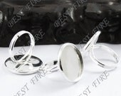 10 pcs Silver Plated Pad Open Adjustable RING Base Cabochon Size:16mm